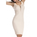 Simple Plain Lace-Up Front Bodycon Knitted Cami Dress