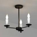 Industrial Vintage Chandelier in Black, 3 Light