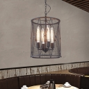 Industrial 14''W Chandelier with Cylinder Metal Mesh in Black, 4 Light