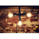 Industrial 26''W Pipe Chandelier with Metal Cage in Vintage Style, Black