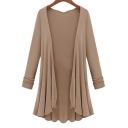 Trendy Open Front Pleated Draped Long Sleeves Asymmetrical Hem Longline Cardigan