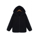 Winter's Warm Simple Plain Long Sleeve Zip Up Hooded Coat