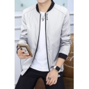 Men's Leisure Simple Plain Stand-Up Collar Zip Up Long Sleeve Coat