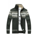 Winter's Fashion Snowflake Pattern High Neck Long Sleeves Zippered Cardigan