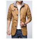 Stylish Stand Collar Single Breasted Long Sleeve Plain Leather Jacket