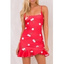 Cherry Print Spagetti Straps Ruffle Hem Pencil Mini Dress