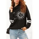 Stylish Tribal Sun Moon Pattern Striped Long Sleeves Pullover Hoodie with Pocket