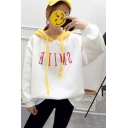 Trendy Color Block Letter Detail Long Sleeves Pullover Hoodie with Drawstring