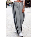 Casual Drawstring Waist Wide Leg Striped Pattern Loose-Fit Pull-on Sport Joggers Pants