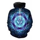Stylish Kaleidoscope Printed Long Sleeves Pullover Hoodie with Pocket
