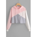 Girlish Color Block Long Sleeves Pullover Cropped Hoodie with Drawstring