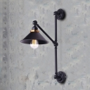 Industrial Wall Sconce with Adjustable Fixture Arm in Black Finish