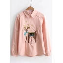 Lovely Deer Embroidered Long Sleeve Lapel Zipper Blouse