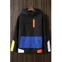 New Fashion Color Block Long Sleeves Zippered Top Pullover Hooded Coat