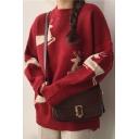 Stylish Cartoon Deer Print Round Neck Long Sleeve Pullover Sweater