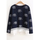 New Stylish Round Neck Elephant Print Long Sleeve Tasseled Hem Sweatshirt