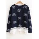 New Stylish Round Neck Elephant Print Long Sleeve Tasseled Hem Sweatshirt