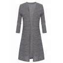 Elegant Plain Long Sleeves Open Front Longline Women's Cardigan