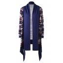 Trendy Color Block Tribal Geometric Printed Open Front Long Sleeves Asymmetric Hem Longline Cardigan