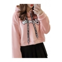 Chic Embroidered Long Sleeve Leisure Hoodie with Letter Ribbons