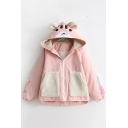 Lovely Cartoon Bear Print Long Sleeve Contrast Pocket Zipper Hooded Coat