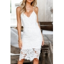 Stylish V-Neck Floral Cut Out Plain Spaghetti Straps Mini Slim-fit Dress