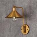 Industrial Wall Sconce with 8.66''W Cone Metal Shade, Gold