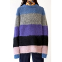 Trendy Color Block Print Long Sleeve Round Neck Pullover Sweater