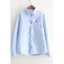 Fashion Bow Embellished Lapel Button Down Toothbrush Print Shirt