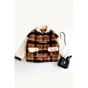 Chic Color Block Plaid Print Long Sleeve Toggle Lapel Coat