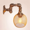 Industrial Wall Sconce with Metal Mesh Shade in Pipe Style
