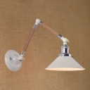Industrial 7.28''W Wall Sconce with Adjustable Rope Fixture Arm in White