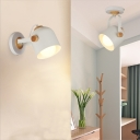 Industrial Wall Sconce with Cylinder Metal Shade in White