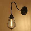Industrial Wall Sconce with Metal Cage Shade and Gooseneck Fixture Arm in Black