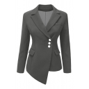 Simple Plain Notch Lapel Long Sleeve Buttons Down Blazer