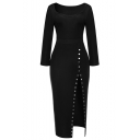 Simple Plain Scoop Neck 3/4 Length Sleeve Split Side Pencil Maxi Dress