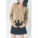 New Trendy V-Neck Long Sleeve Simple Plain Tassel Pullover Sweater