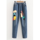 Simple Elastic Waist Geometric Patch Printed Loose Jeans with Pockets