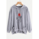 Popular Floral Pattern Long Sleeves High Low Hem Pullover Hoodie