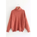 Stylish Turtleneck Long Sleeves Plain Ribbed High Low Hem Loose Pullover Sweater