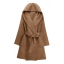 Elegant Warped Front Bow Belted Long Wide Sleeves Hooded Longline Coat with Pockets
