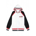 Simple Color Block Letter Pattern Striped Pattern Hooded Zippered Sports Jacket