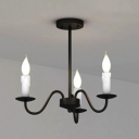 Industrial 3-Light Chandelier with Gooseneck Fixture Arm in Vintage Style