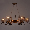 Industrial Vintage 31''W Large Chandelier with Metal Mesh Shade in Rust, 6 Light