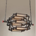Industrial 34''W Pipe Chandelier with Metal Cage, 8 Light, Black