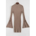 Hot Fashion Simple Plain Flared Cuff Knitted Bodycon Dress
