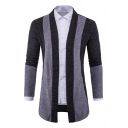 Stylish Color Block Long Sleeves Collarless Open Front Slim-Fit Men's Cardigan