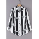 Fashion Striped Dog Print Lapel Long Sleeve Buttons Down Shirt