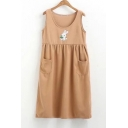Cute Rabbit Strawberry Pattern Round Neck Tank Dress with Pocket