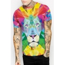 Summer Fashion Colorful Color Block Lion Printed Round Neck Short Sleeve Tee